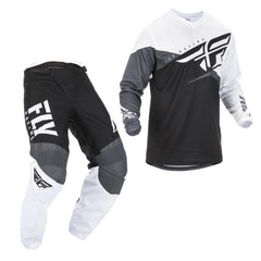 2019 Fly Youth F-16 MX Motocross & Enduro Kit Combo - Black/White/Grey