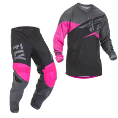 2019 Fly Youth F-16 MX Motocross & Enduro Kit Combo - Neon Pink/Black/Grey