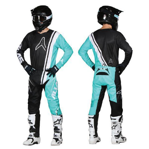 Alias Motocross Kit Combos 2018 Alias A1 Offset MX Motocross Kit Combo - Black / Seafoam
