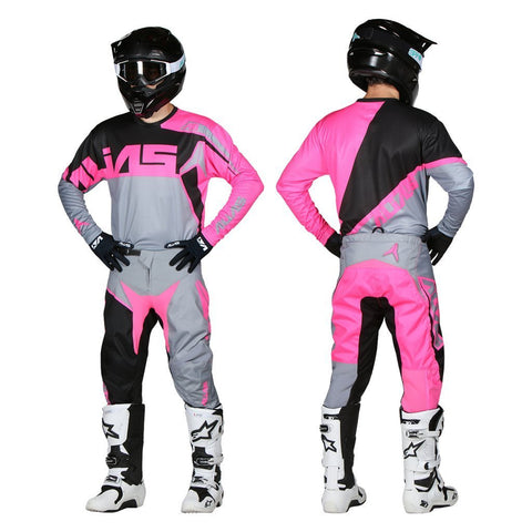 Alias Motocross Kit Combos 2018 Alias YOUTH A2 Burst MX Motocross Kit Combo - Grey / Pink