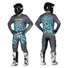 2018 Alias YOUTH A2 Cheetah MX Motocross Kit Combo - Grey Seafoam