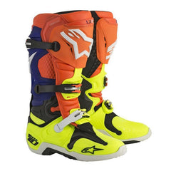 2018 Alpinestars Tech 10 Boots Motocross Boots - Orange Fluo / Blue / White / Yellow Fluo