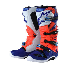 2018 Alpinestars / TLD Tech 7 Motocross Boot Red Flo / Blue / White