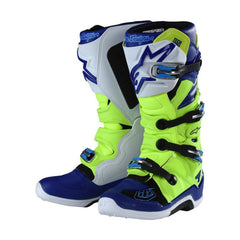 2018 Alpinestars / TLD Tech 7 Motocross Boot Yellow Flo / Blue / White