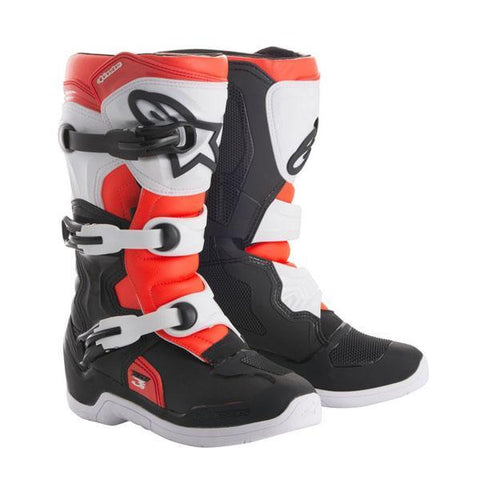 Alpinestars Youth Motocross Boots 2018 Alpinestars Youth Tech 3S Motocross Boots - Black, White & Red Fluo