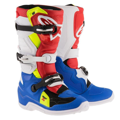 Alpinestars Youth Motocross Boots 3 (37) 2018 Alpinestars Kids Boots Tech 7S - Blue White Red Flou Yellow