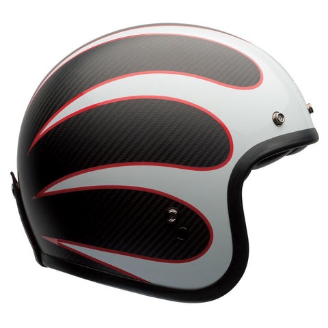 Bell Road Helmets 2018 Bell Custom 500 Carbon Road Helmet - Ace Cafe Ton Up White/Black/Red
