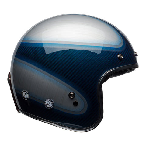 Bell Road Helmets 2018 Bell Custom 500 Carbon Road Helmet - RSD Jager Gloss Candy Blue/Carbon