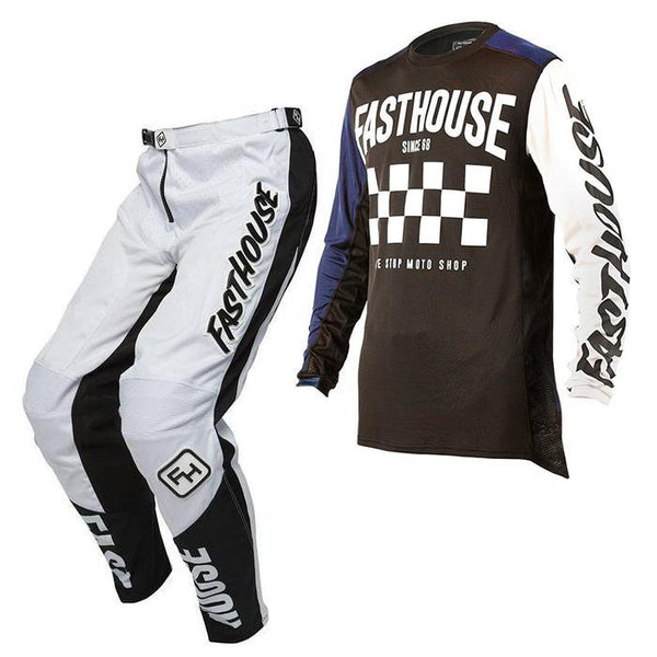 Fasthouse Motocross Kit Combo 2018 Fasthouse Victory L1 MX Motocross Kit Combo -Navy/White
