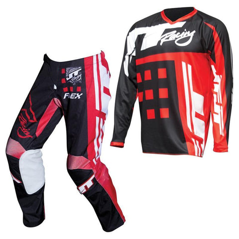 Fly Racing Motocross Kit Combo 2018 JT Racing Flex Exbox MX Motocross Kit Combo - Black / Red