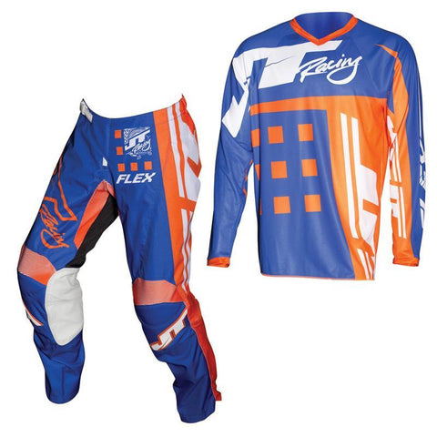 Fly Racing Motocross Kit Combo 2018 JT Racing Flex Exbox MX Motocross Kit Combo - Blue / Fluo Orange