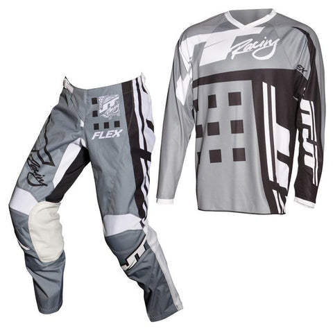 Fly Racing Motocross Kit Combo 2018 JT Racing Flex Exbox MX Motocross Kit Combo - Grey / Black