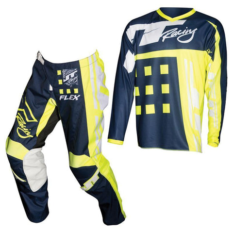 Fly Racing Motocross Kit Combo 2018 JT Racing Flex Exbox MX Motocross Kit Combo - Navy / Neon Yellow