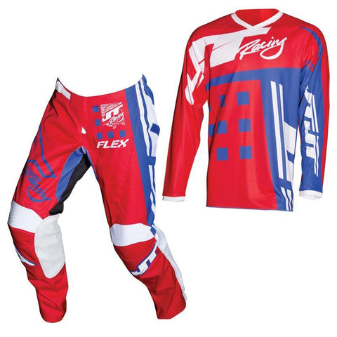 Fly Racing Motocross Kit Combo 2018 JT Racing Flex Exbox MX Motocross Kit Combo - Red / Blue / White