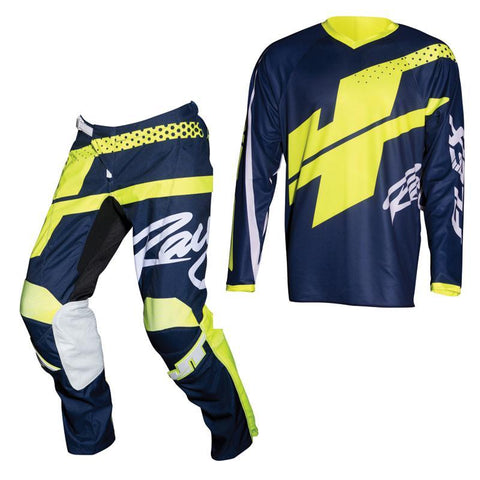 Fly Racing Motocross Kit Combo 2018 JT Racing Flex Hi-Lo MX Motocross Kit Combo - Navy / Neon Yellow
