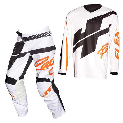 Fly Racing Motocross Kit Combo 2018 JT Racing Flex Hi-Lo MX Motocross Kit Combo - White / Orange / Black