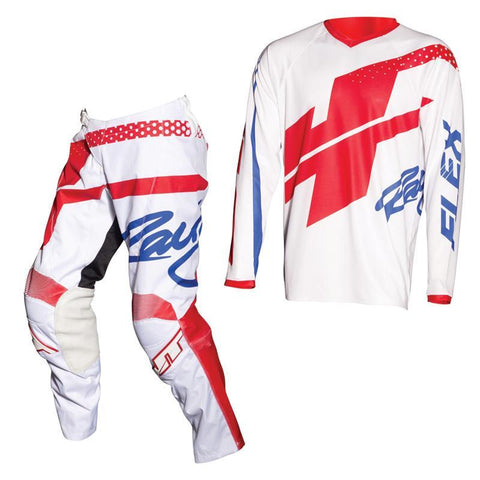 Fly Racing Motocross Kit Combo 2018 JT Racing Flex Hi-Lo MX Motocross Kit Combo - White / Red / Blue
