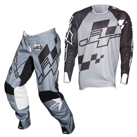 Fly Racing Motocross Kit Combo 2018 JT Racing Hyperlite Checker MX Motocross Kit Combo - Black / Grey / White