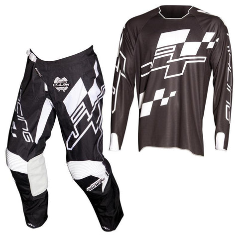 Fly Racing Motocross Kit Combo 2018 JT Racing Hyperlite Checker MX Motocross Kit Combo - Black / White