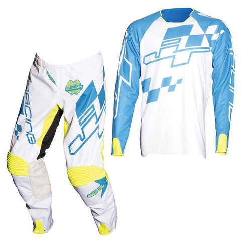Fly Racing Motocross Kit Combo 2018 JT Racing Hyperlite Checker MX Motocross Kit Combo - Cyan / White / Neon Yellow