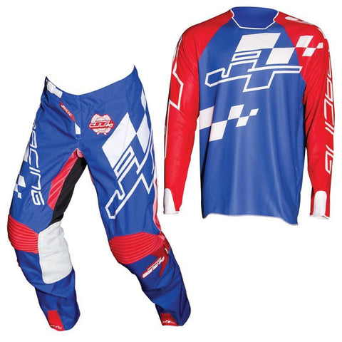 Fly Racing Motocross Kit Combo 2018 JT Racing Hyperlite Checker MX Motocross Kit Combo - Red / White / Blue