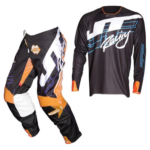 Fly Racing Motocross Kit Combo 2018 JT Racing Hyperlite Shuffle MX Motocross Kit Combo - Black / Cyan / Fluo Orange