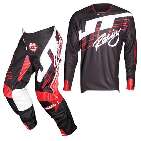 Fly Racing Motocross Kit Combo 2018 JT Racing Hyperlite Shuffle MX Motocross Kit Combo - Black / Fluo Red / White