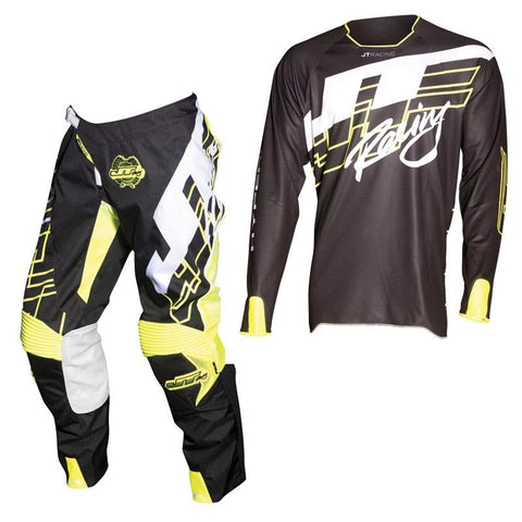 Fly Racing Motocross Kit Combo 2018 JT Racing Hyperlite Shuffle MX Motocross Kit Combo - Black / Neon Yellow / White