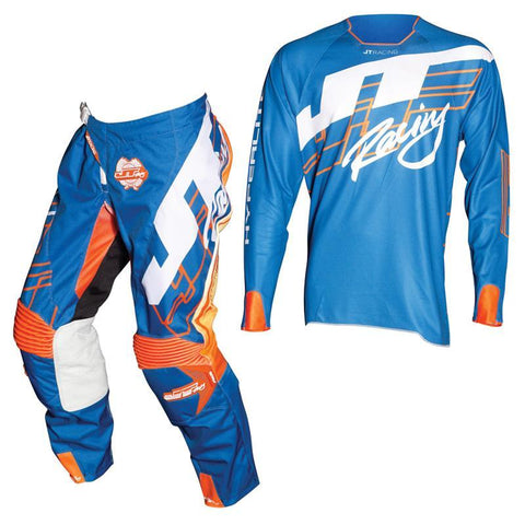 Fly Racing Motocross Kit Combo 2018 JT Racing Hyperlite Shuffle MX Motocross Kit Combo - Blue / Fluo Orange / White