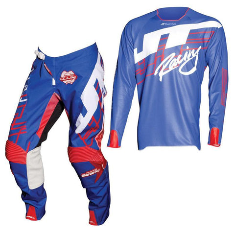 Fly Racing Motocross Kit Combo 2018 JT Racing Hyperlite Shuffle MX Motocross Kit Combo - Blue / Red / White