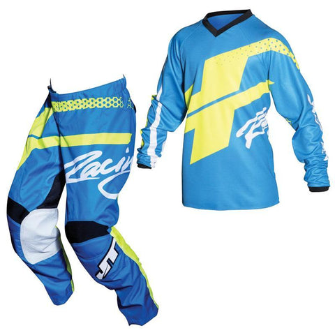 Fly Racing Youth Motocross Kit Combo 2018 JT Racing YOUTH Flex Hi-Lo MX Motocross Kit Combo - Cyan / Neon Yellow