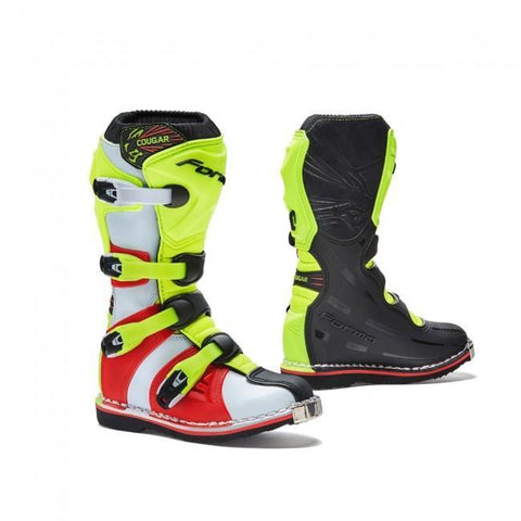 Forma Youth Motocross Boots UK 13 (32) Forma Cougar Kids YOUTH MX Motocross Boots - Black/Flo Yellow