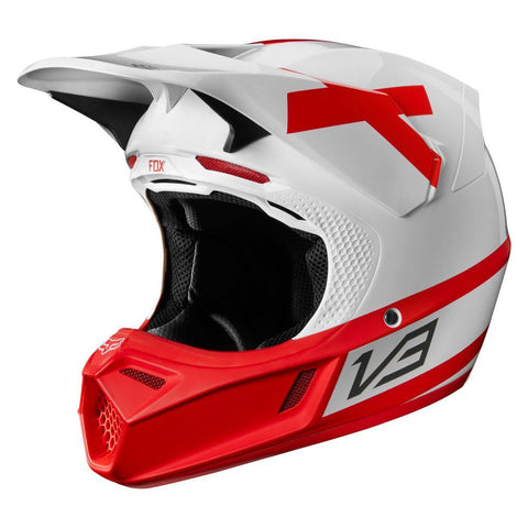 Fox Motocross Helmets 2018 FOX V3 Preest LE Motocross Helmet - White / Red