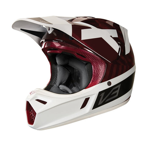 Fox Motocross Helmets S - 54-56cm 2018 FOX V3 Preest MX Motocross Helmet - Dark Red
