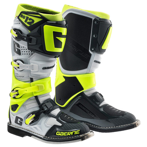 Gaerne Motocross Boots 11 (46) Gaerne SG12 Motocross Boots - White Yellow Grey Limited Edition