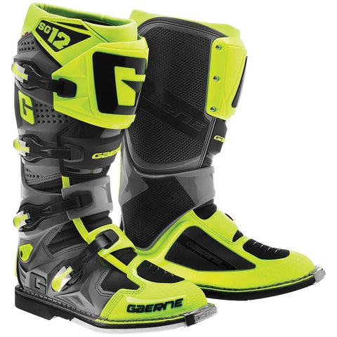 Gaerne Motocross Boots 7 (42) Gaerne SG12 Motocross Boots - Neon Yellow Grey