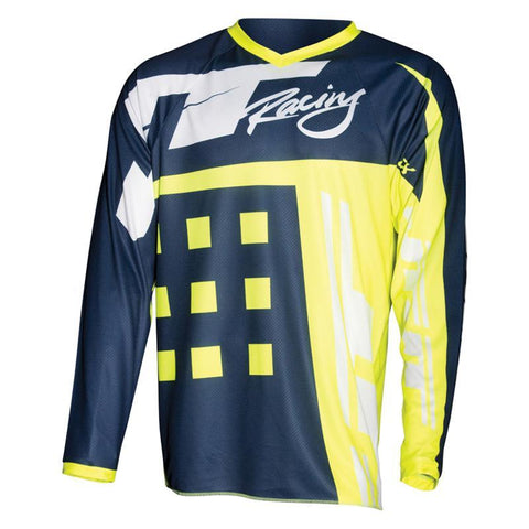 JT Racing Motocross Jerseys 2018 JT Racing Flex Exbox MX Motocross Jersey - Navy / Neon Yellow