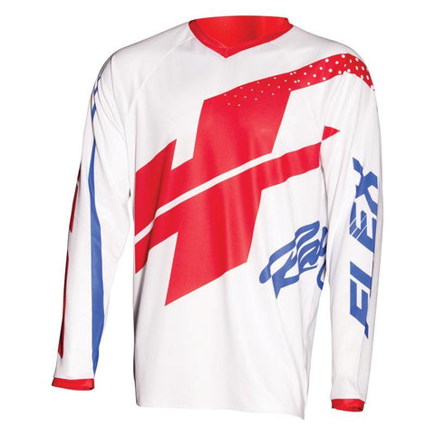 JT Racing Motocross Jerseys 2018 JT Racing Flex Hi-Lo MX Motocross Jersey - White / Red / Blue