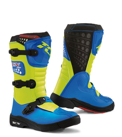 Motocross Boots 2018 TCX Comp Youth Motocross Boots - Flou Yellow Blue