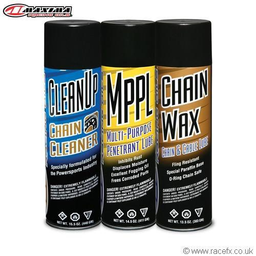 Motocross Chain Lube & Clean Maxima Chain Wax Ulltimate Chain Care Combo Kit - 3 Pack Aerosol