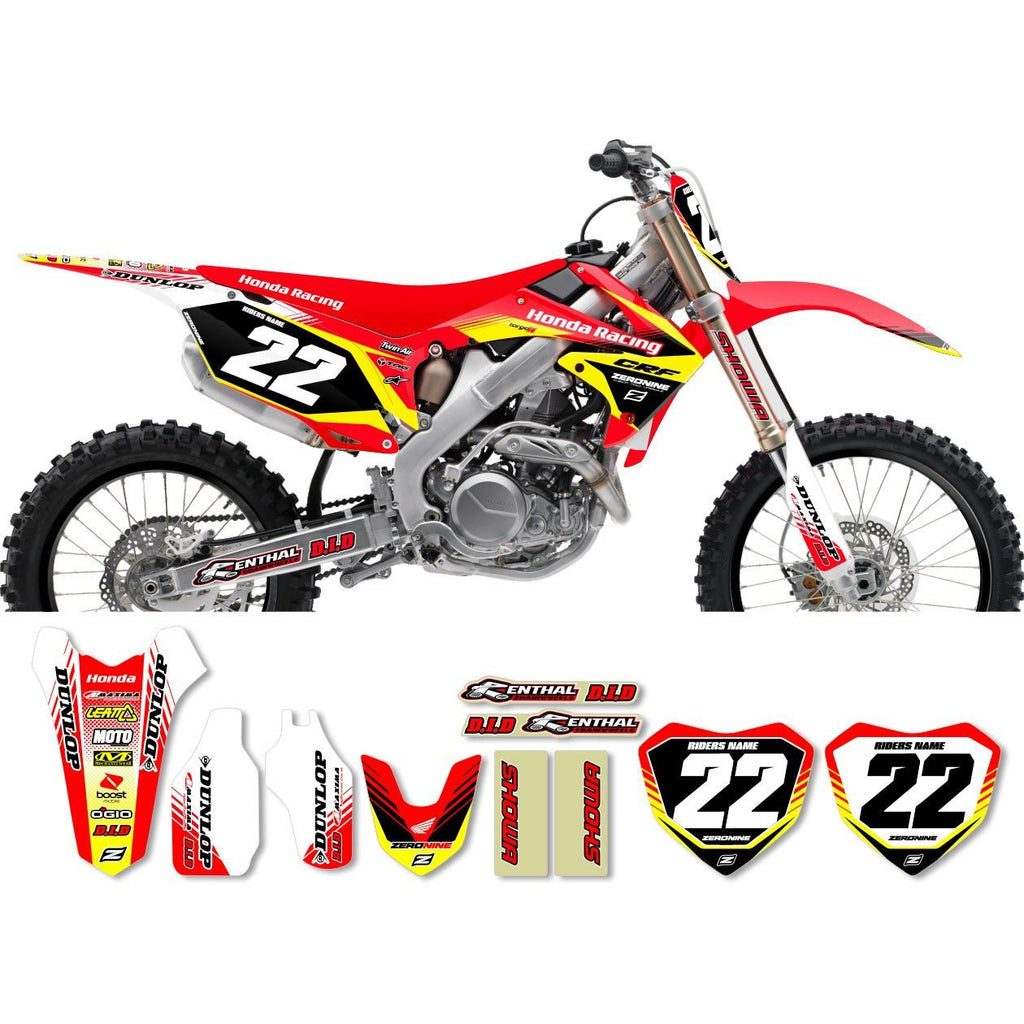 Motocross Custom Graphics CRF150 07-> Honda Zeronine Graphics Kit - Targa 2 - Red Yellow