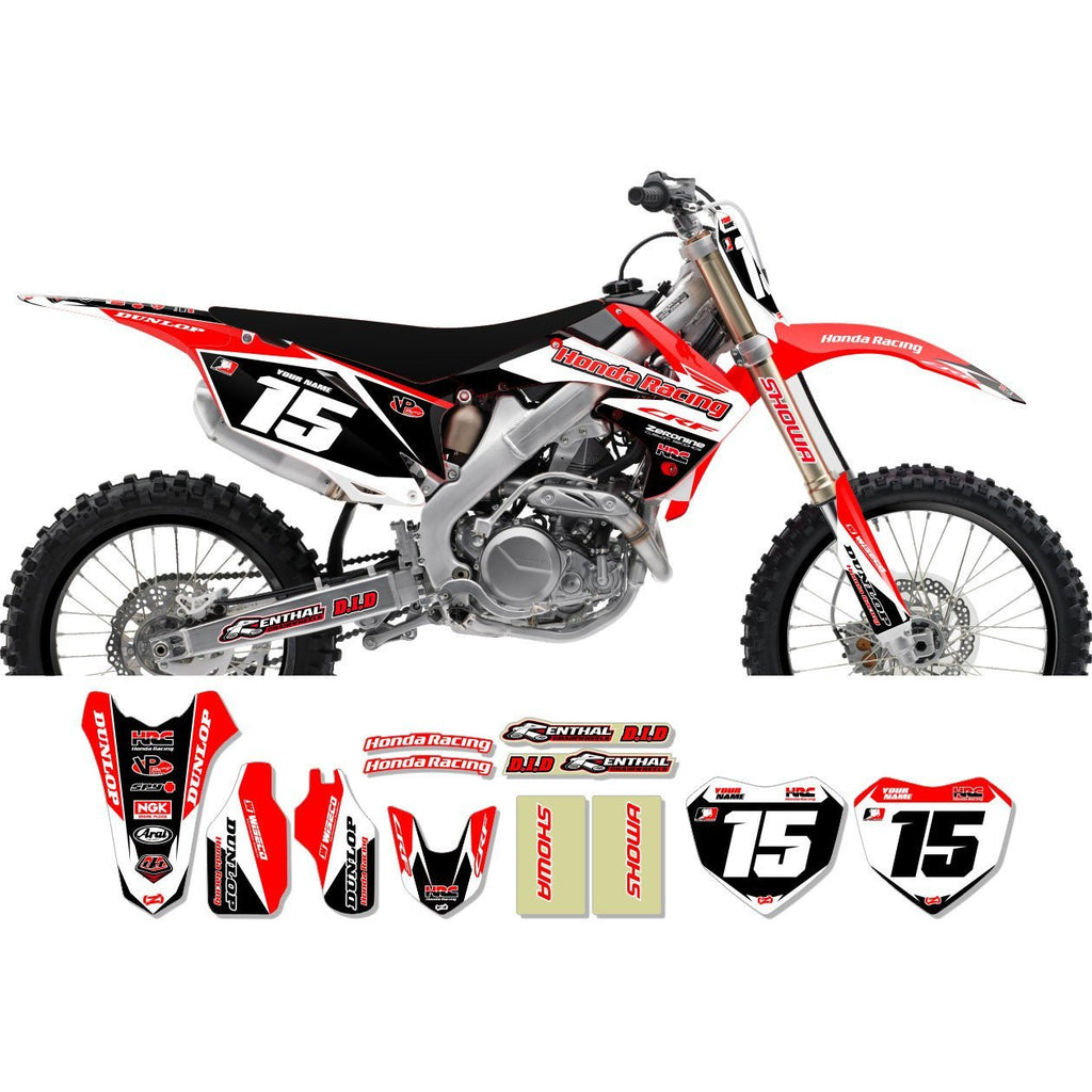 Motocross Custom Graphics CRF250 04-> Honda Race Team Issue Graphics Kit - Red Black