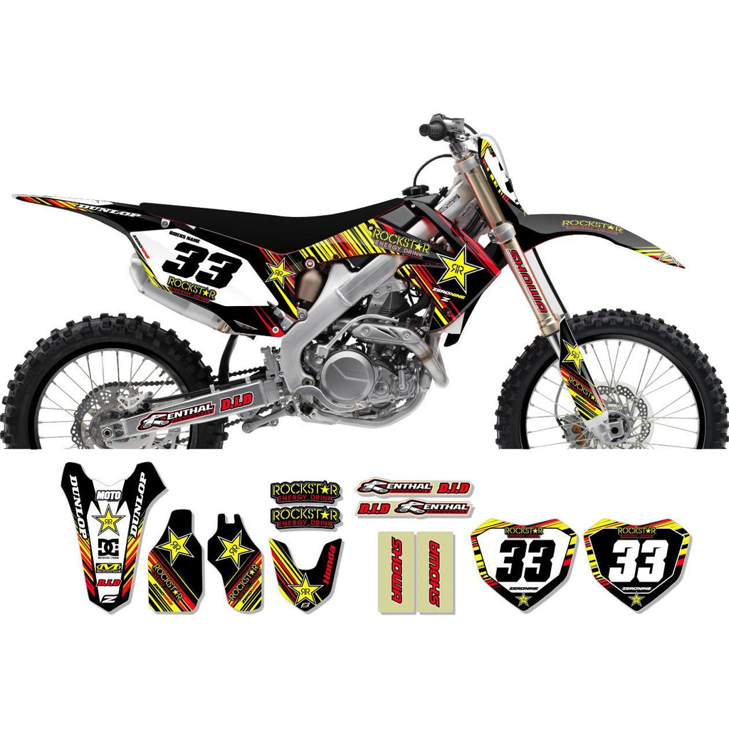 Motocross Custom Graphics CRF250 04-> Honda Rockstar Graphics Kit - GTO