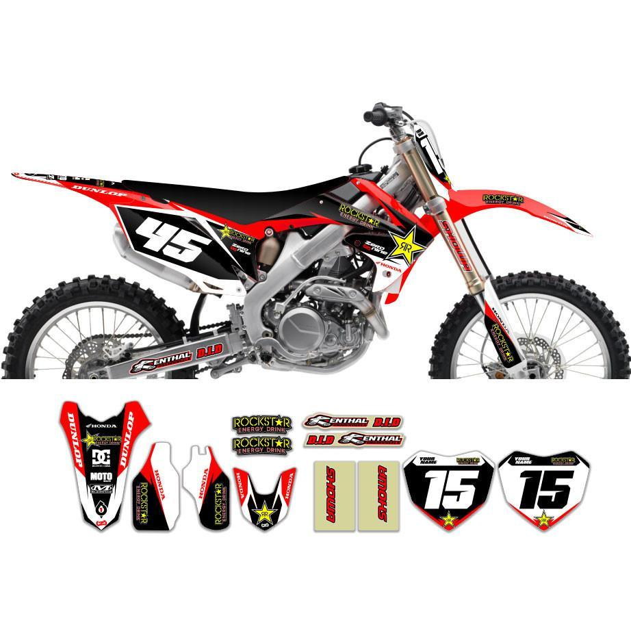 Motocross Custom Graphics Default Title CRF450 05-> Rockstar Factory Honda Graphics Kit - Red/Black