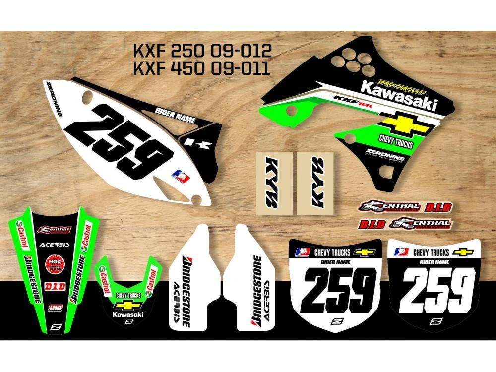 Motocross Custom Graphics Default Title KXF250 09-12 Kawasaki Retro Team Graphics Kit Chevy Trucks