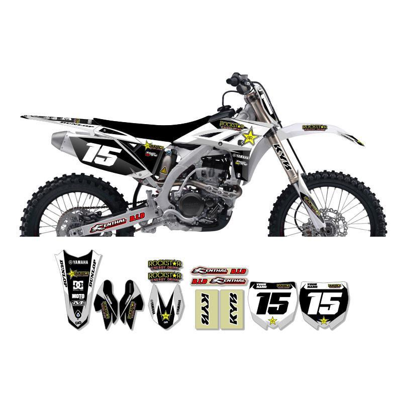 Motocross Custom Graphics Default Title Yamaha YZ125/250 02-> Rockstar Factory Graphics - White/Silver