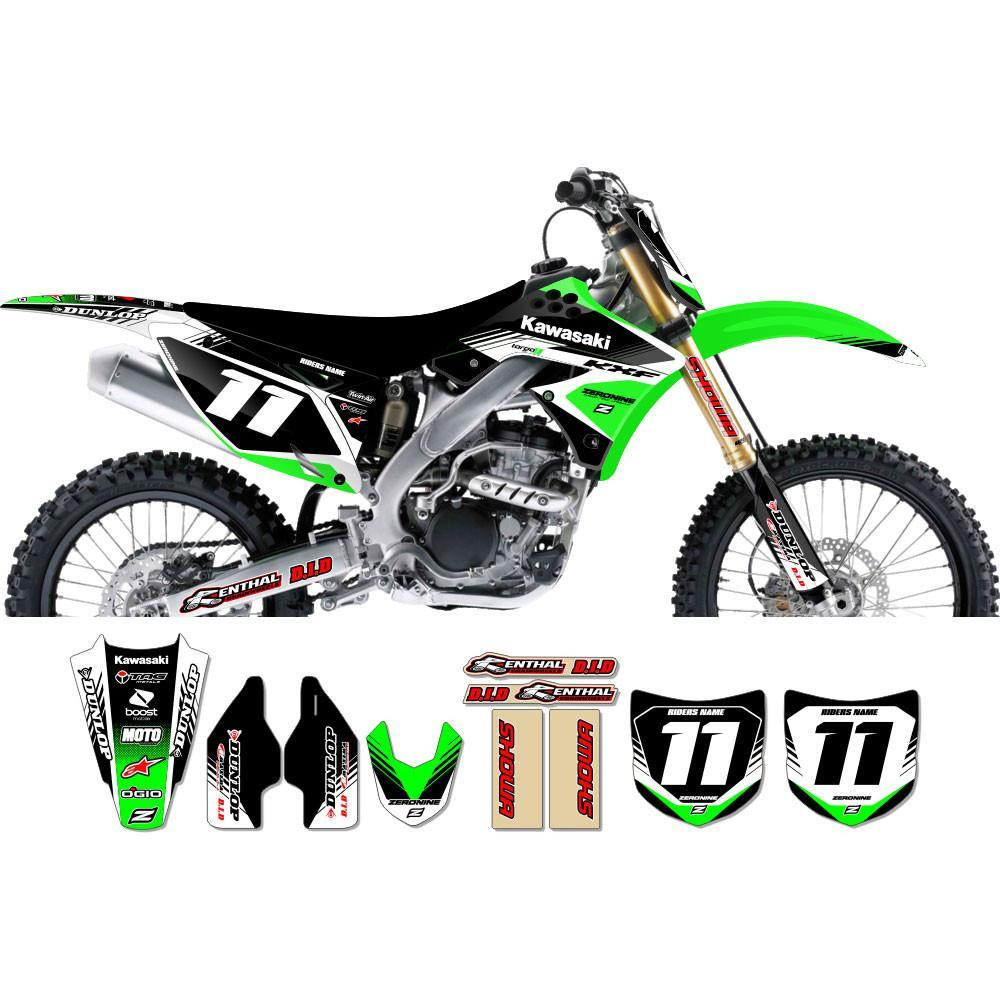 Motocross Custom Graphics KXF450 (06->) Targa2 Series Complete Graphics Kit - Green Black