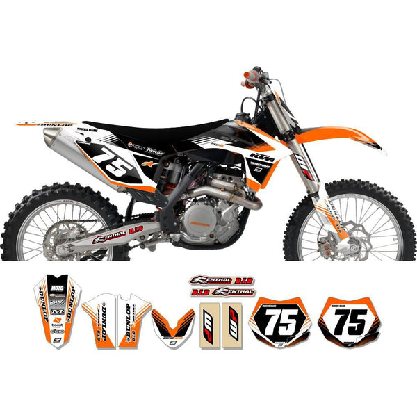 Motocross Custom Graphics SX(F) 07-> EXC(F) 08-> Targa2 Series Complete Graphics Kit - Orange White