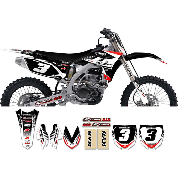 Motocross Custom Graphics Yamaha YZ125/250 06-> Targa2 Series Complete Graphics Kit - Black Red