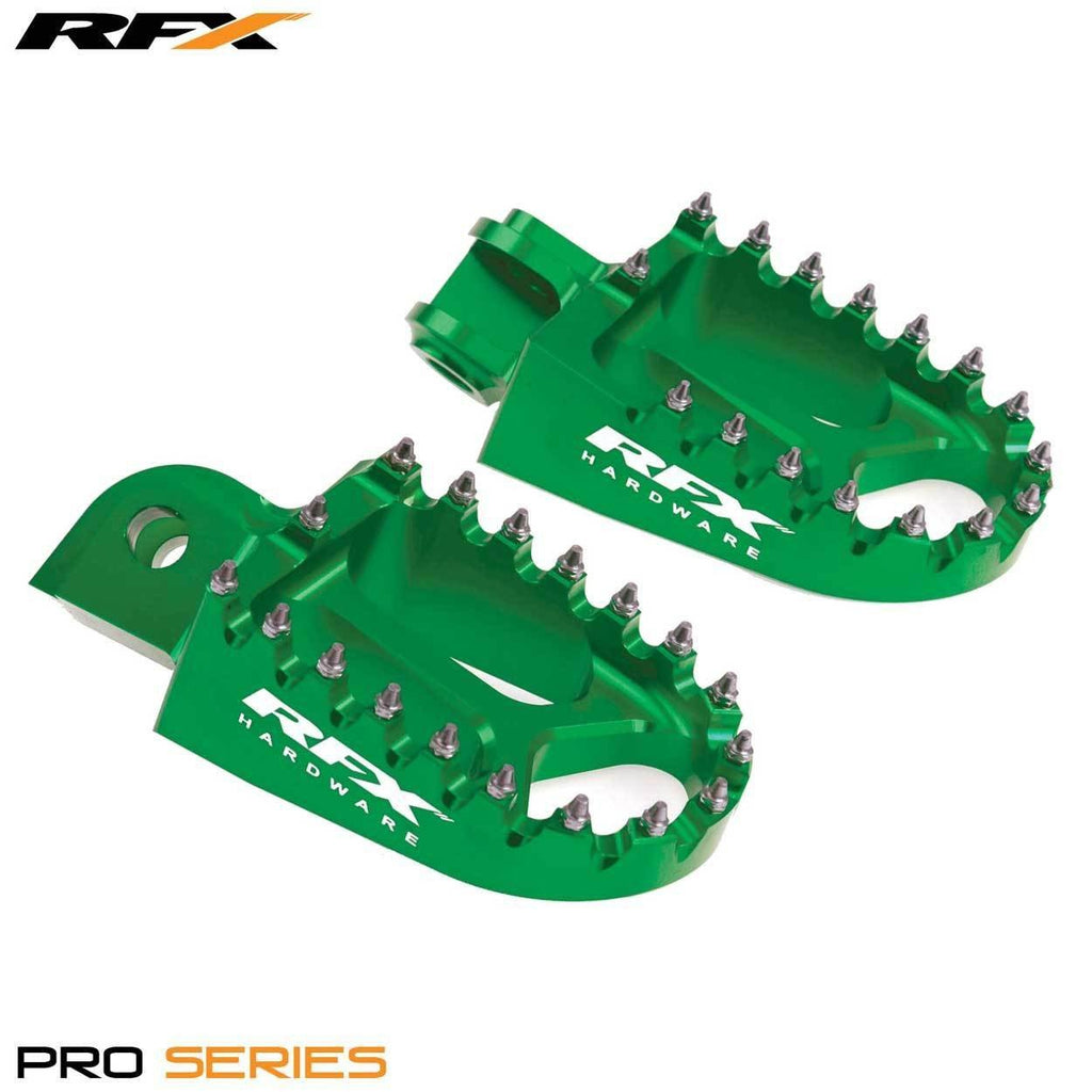 Motocross Foot Pegs RFX Billet Anodised Wide Footpegs - Green - Kawasaki KXF250 06-14
